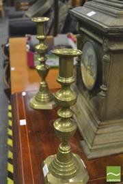 Sale 8359 - Lot 1040 - Pair of brass candlesticks.