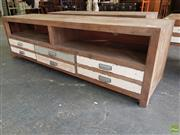 Sale 8601 - Lot 1270 - Shabby Chic Entertainment Unit with Three Drawers (H: 52 W: 180 D: 44.5cm)