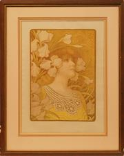 Sale 8675 - Lot 533 - Paul Berthon (1872 - 1909) - Sarah Bernhardt 50.5 x 36cm