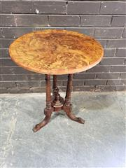 Sale 8976 - Lot 1073 - Victorian Walnut Round Occasional Table, with burr top cross-banded in rosewood, on turned legs with outswept feet (h:70 x d:55cm)