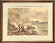 Sale 9058 - Lot 2076 - Artist unknown, Shipwrecked; watercolour, frame: 81 x 101 cm, no visible signature.