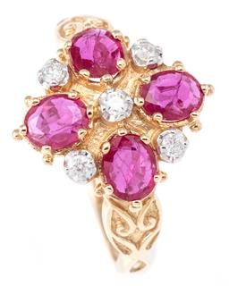 Sale 9124 - Lot 366 - A 9CT GOLD VICTORIAN STYLE RUBY AND DIAMOND RING; cluster mount set with 4 oval cut rubies and 4 round brilliant cut diamonds to scr...