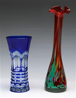 Sale 9153 - Lot 62 - A Duo of art glass vases, 1 AF to rim , (H:26.5cm) (2)