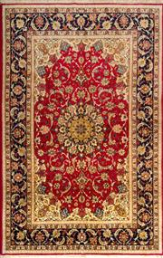 Sale 8307A - Lot 60 - Superfine Persian Silk Inlaid Isfahan 240cm x 153cm RRP $10,000
