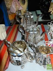 Sale 8360 - Lot 58 - Sheffield Saw & Fish Silver Plated 5 Piece Tea & Coffee Set