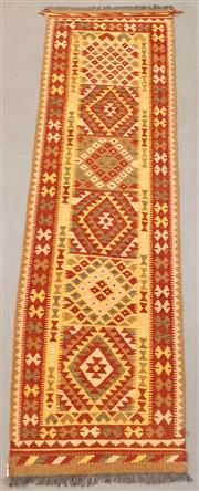 Sale 8445K - Lot 43 - Summer Afghan Tribal Kilim Runner , 301x85cm, Finely handwoven in Northern Afghanistan using high quality local wool. Vibrant summer...