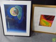 Sale 8513 - Lot 2053 - (2 works) Artist Unknown - Voyager II, screenprint, signed lower right; A Decorative Abstract Print.