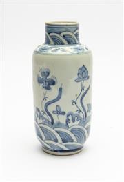 Sale 8770 - Lot 49 - A Chinese Ming style blue and white porcelain cylindrical vase,20th century H x 17cm