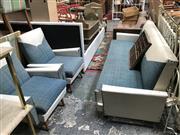 Sale 8859 - Lot 1093 - Vintage Vinyl 3-Piece Click Clack Lounge Suite incl. 2 Armchairs & a 3 Seater