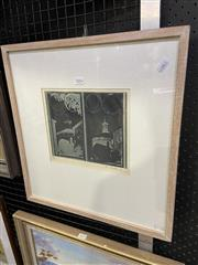 Sale 9050 - Lot 2016 - Earle Backen Cell Block,East Sydney Tech, 1947, woodblock print, ED 29/100, frame: 48 x 45 cm, signed and dated lower right -