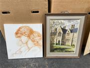 Sale 9061 - Lot 2065 - 2 original works by Ellie Hicks & B. Otto; St. Pauls college university, portrait of a woman; oil on canvas on board & acrylic on c...