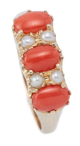Sale 9124 - Lot 362 - A VICTORIAN STYLE CORAL AND PEARL RING; belcher set in 9ct gold with 3 cabochon corals and 4 seed pearls, size N1/2, width 7mm, wt....