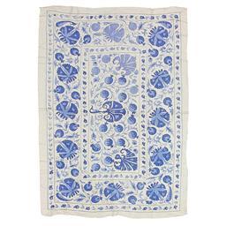 Sale 9124C - Lot 17 - Uzbek Vintage Suzani Textile, 145x205cm, Handspun Wool & Silk