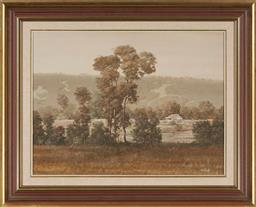 Sale 9155 - Lot 2022 - MICHAEL TAYLOR (1939 - ) Much Needed Rain oil on board 44.5 x 59.5 cm (frame: 64 x 79 x 5 cm) signed lower right