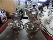 Sale 8359 - Lot 1097 - An Art Deco Sheffield Silver Plated 4 Piece Tea Service