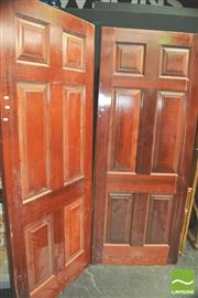 Sale 8371 - Lot 1019 - Pair of Solid Timber Panel Doors (82 x 203cm)