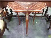Sale 8634 - Lot 1065 - Unusual Louis XV Style Marquetry Drop-Leaf Occasional Table, with brass mounts, the triangular top extending to a lobed shape, raise...
