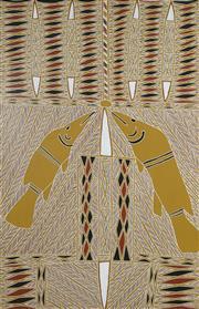 Sale 8718 - Lot 555 - Peter Datjin Burrwanga (1953 - ) - Barramundi, Fire, Waterhole, 2002 natural pigments on paper