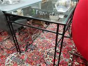 Sale 8777 - Lot 1036 - Bespoke Metal Table with Glass Top