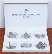 Sale 9005H - Lot 58 - A boxed set of six Furstenburg pin dishes, depicting Esslingen scenes, each 10cm diameter.
