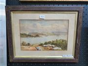 Sale 9087 - Lot 2014 - Artist Unknown (19th century), Figures Overlooking the Harbour & Distant View of Lighthouse, watercolour and gouache, frame: 30 x...