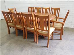 Sale 9108 - Lot 1022 - Oregon 11 piece dining suite (h:76 x d:180 x d:120cm)
