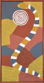 Sale 8288A - Lot 48 - Billy Stockman Tjapaltjarri (c1925 - ) - Snake Dreaming 84 x 47cm (framed & ready to hang)