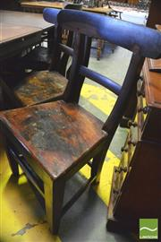 Sale 8390 - Lot 1068 - Set of 6 Colonial Cedar Chairs with rail backs, timber seats and tapering legs