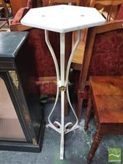 Sale 8416 - Lot 1076 - Early Wrought Iron Pedestal, of triform painted white & gold, with hexagonal marble top