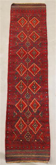 Sale 8445K - Lot 45 - Tribal Meshwani Runner , 252x58cm, Unique Afghan tribal Meshwani rug, handwoven in Northern Afghanistan by nomadic people. Simple ge...