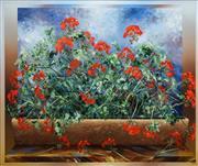Sale 8504 - Lot 518 - David Voigt (1944 - ) - Pelagonia Window Box, 1995 90 x 120.5cm