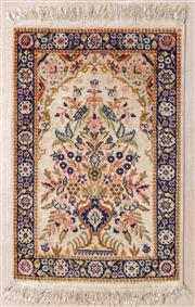 Sale 8650A - Lot 86 - A small possibly Kashmiri silk prayer carpet with a vase and flower motif in a niche, 96 x 61cm.