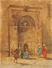 Sale 8683 - Lot 553 - F Manzini (C19th) - Untitled (Moorish Scene) 43 x 32.5cm
