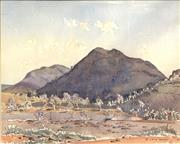 Sale 8678 - Lot 2044 - Rufus Morris - Dark Mountain Jerbois Range, watercolour, 58.5 x 68.5cm (frame size), signed lower right