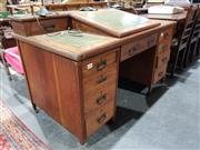 Sale 8760 - Lot 1068 - Timber Nine Drawer Clerks Desk with Lift Top Section and Turned Gallery