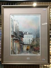 Sale 8776 - Lot 2020 - Nestor Fruge - Paris, watercolour, 56 x 45cm (frame size), signed lower left