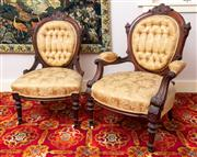 Sale 8804A - Lot 127 - A Victorian carved walnut gentlemen and ladies chair ensuite