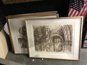 Sale 8841 - Lot 2082 - Group of (5) signed Architectural Lithographs by Allan Gamble, together with (2) Folios