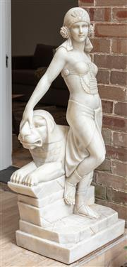 Sale 9070H - Lot 4 - A marble art deco figural sculpture of a woman in Romanesque dress dominating a lion, Total Height 125cm x Width 56cm x Depth 47cm