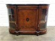 Sale 9068 - Lot 1083 - Good Victorian Burr Walnut Credenza, the top with cross-banded and ebonised edge, above a central marquetry doo, flanked by column w...