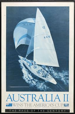 Sale 9103 - Lot 2082 - Framed Australia II Yacht Poster (95 x 60cm) -