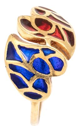 Sale 9115 - Lot 322 - A VINTAGE 18CT GOLD CHAMPLEVE TWIN HEART RING; two hearts inset with blue and red enamel, size J/12, top 11mm, wt. 2.18g.