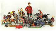 Sale 8330T - Lot 74 - Assorted Vintage Lead Figures; Cowboys and Indians incl Manoil, Britains and possibly Crescent, plus early plastic Canadian RCMP by...