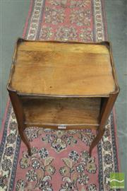 Sale 8416 - Lot 1078 - French Walnut Bedside Cabinet, with low gallery back, open shelf & cabriole legs