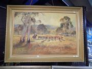 Sale 8429A - Lot 2098 - Eric Luk (XX) Cattle Muster, oil on canvas board, 60 x 90cm, signed lower right