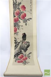 Sale 8496 - Lot 66 - Chinese Scroll of Eagle and Peach Signed ( L 195)