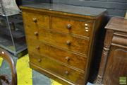 Sale 8520 - Lot 1044 - Victorian Figured Walnut Chest of Five Drawers, on plinth base