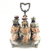 Sale 8545N - Lot 30 - Silver Plated and Porcelain Imari Style Cruet Set (H: 26cm)