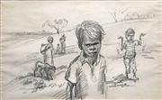 Sale 8738 - Lot 559 - Elizabeth Durack (1915 - 2000) - Aboriginal Boys and Catching Lizards 34.5 x 55.5cm