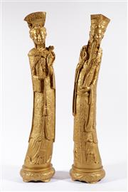 Sale 9007 - Lot 16 - Pair Of large gilded emperor and empress figures H: 61cm